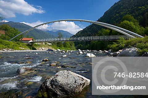 bridge over Sarca river by Tione of Trento, Rendena valley, Giudicarie valley, Trentino, Italy, Europe