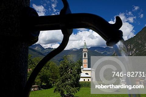 fountain at Bolbeno, Giudicarie valley, Trentino, Italy, Europe