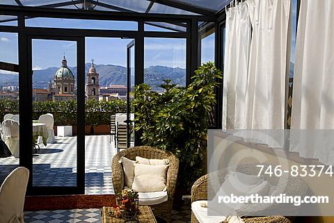 Ambasciatori Hotel terrace, Palermo, Sicily, Italy, Europe