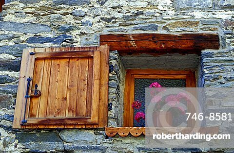 Window with flowers, Val di Rhemes, Valle d'Aosta, Italy