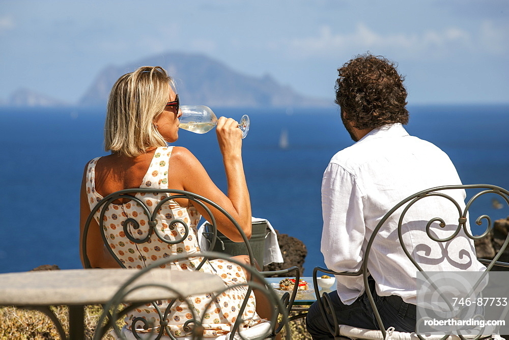 Hotel Signum, terrace, view of Panarea island, Malfa, Salina island, Aeolian Islands, Sicily, Italy, Europe