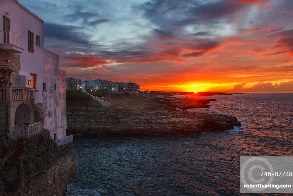 Sunset cityscape at Polignano a Mare, Apulia, Italy, Europe