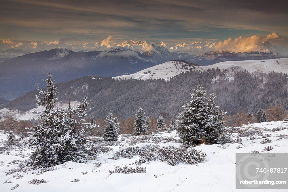 Orobic alps in winter at sunset, San Zeno hill, Lombardy, Italy, Europe