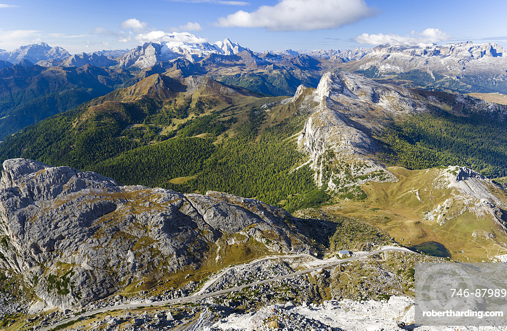 Mount Marmolada, the queen of the dolomites. In the foreground Valparola mountain road and mountain pass. The Dolomites are listed as UNESCO World heritage. europe, central europe, italy