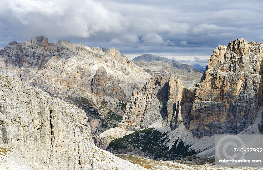 Mount Conturines and the  Fanes mountains high above Alta Badia in the Dolomites.  The Dolomites are listed as UNESCO World heritage. europe, central europe, italy,  october