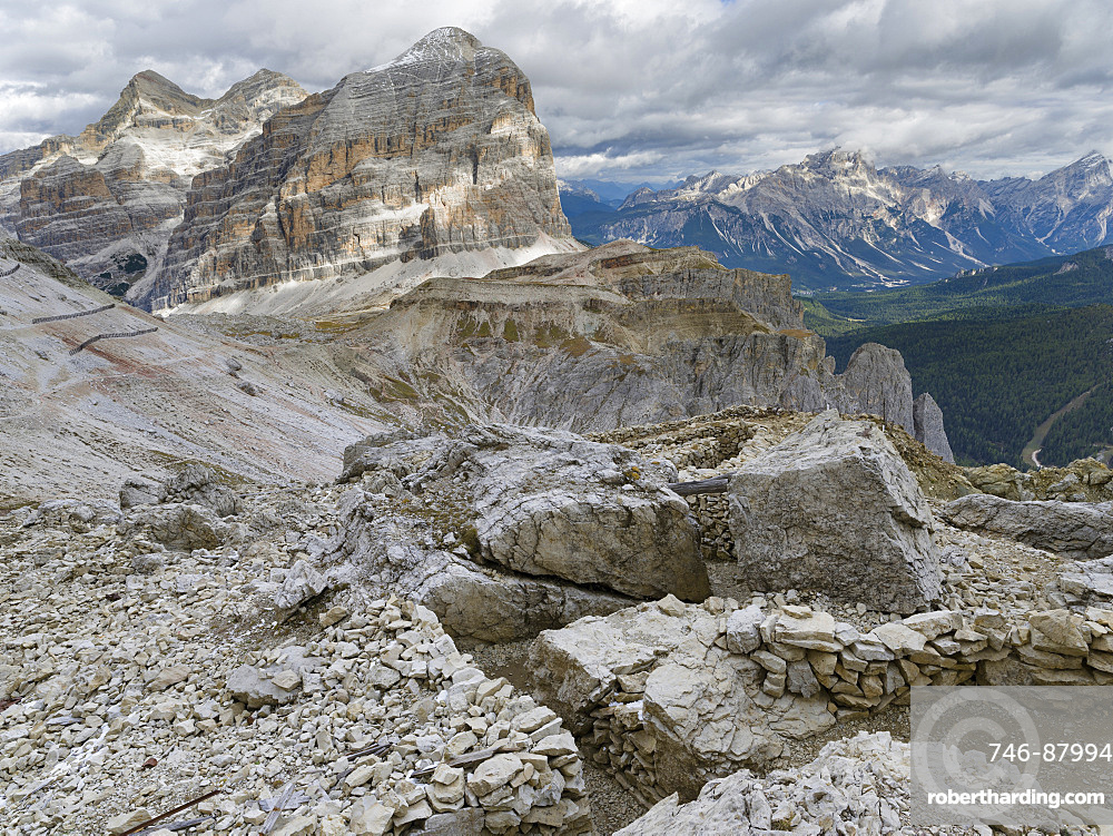Emplacements of the Austrian forces during  World War 1 at Mount Lagazuoi in the Dolomites, now preserved as a museum. The peakds of the Tofane in the background. The Dolomites are listed as UNESCO World heritage. europe, central europe, italy,  october