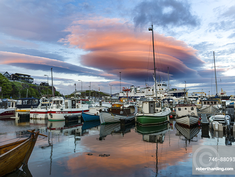 Midnight, atmospheric cloud over the eastern harbour. Torshavn (Thorshavn) the capital of the Faroe Islands on the island of Streymoy in the North Atlantic, Denmark, Northern Europe