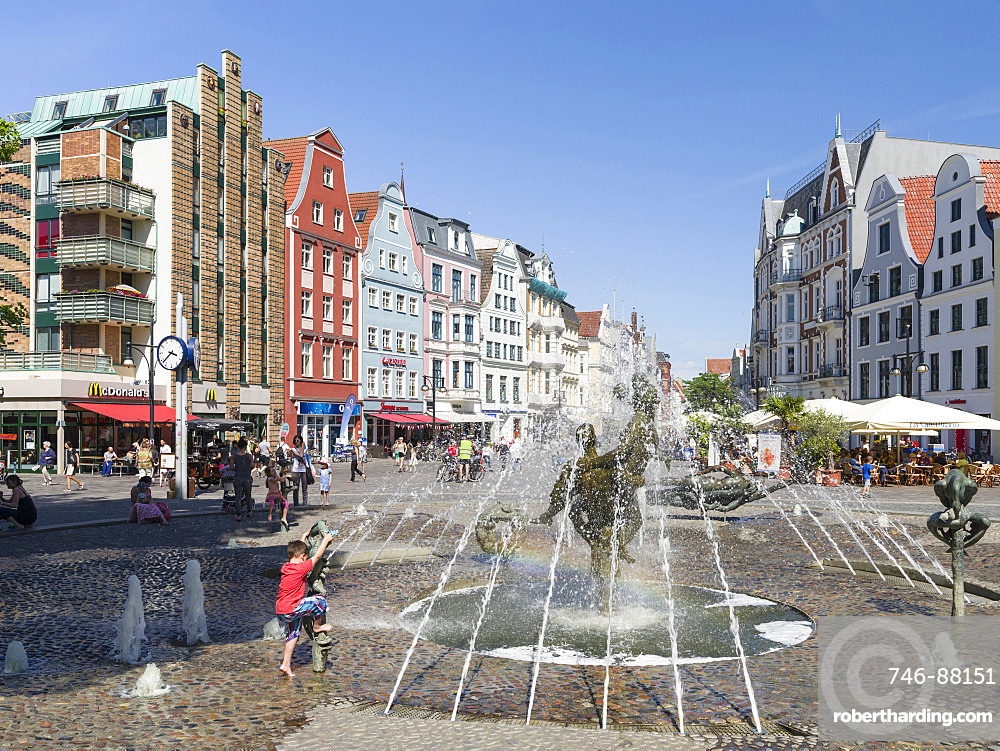Fountain Brunnen der Lebensfreude ( lust for life ) at the Kroepeliner Strasse. The hanseatic city of Rostock at the coast of the german baltic sea.  Europe,Germany, Mecklenburg-Western Pomerania, June