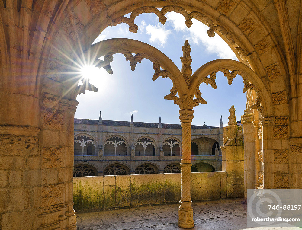 Jeronimos Monastery in Belem, part of the UNESCO world heritage, The two storied square cloister with Manueline motives, Lisbon, Portugal, Europe