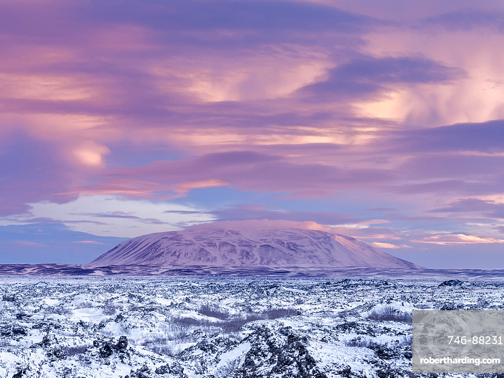 Lava field Dimmuborgir during winter near lake Myvatn in the highlands of Iceland in deep snow. View towards south into the central highland wiht mount  Sellandafjall . europe, northern europe, iceland,  February