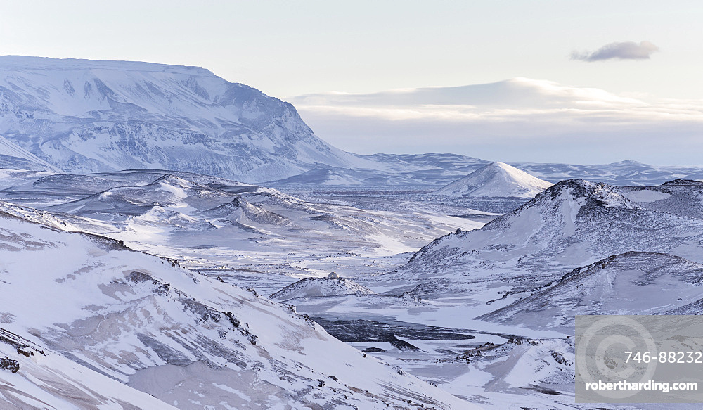 landscape in the highland of Iceland during winter close to lake Myvatn. europe, northern europe, iceland,  February
