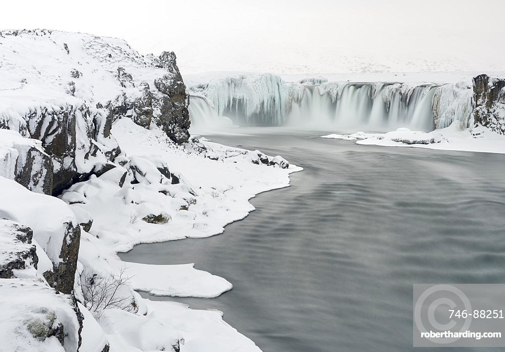 Godafoss one of the iconic waterfalls of Iceland during winter. europe, northern europe, iceland,  February