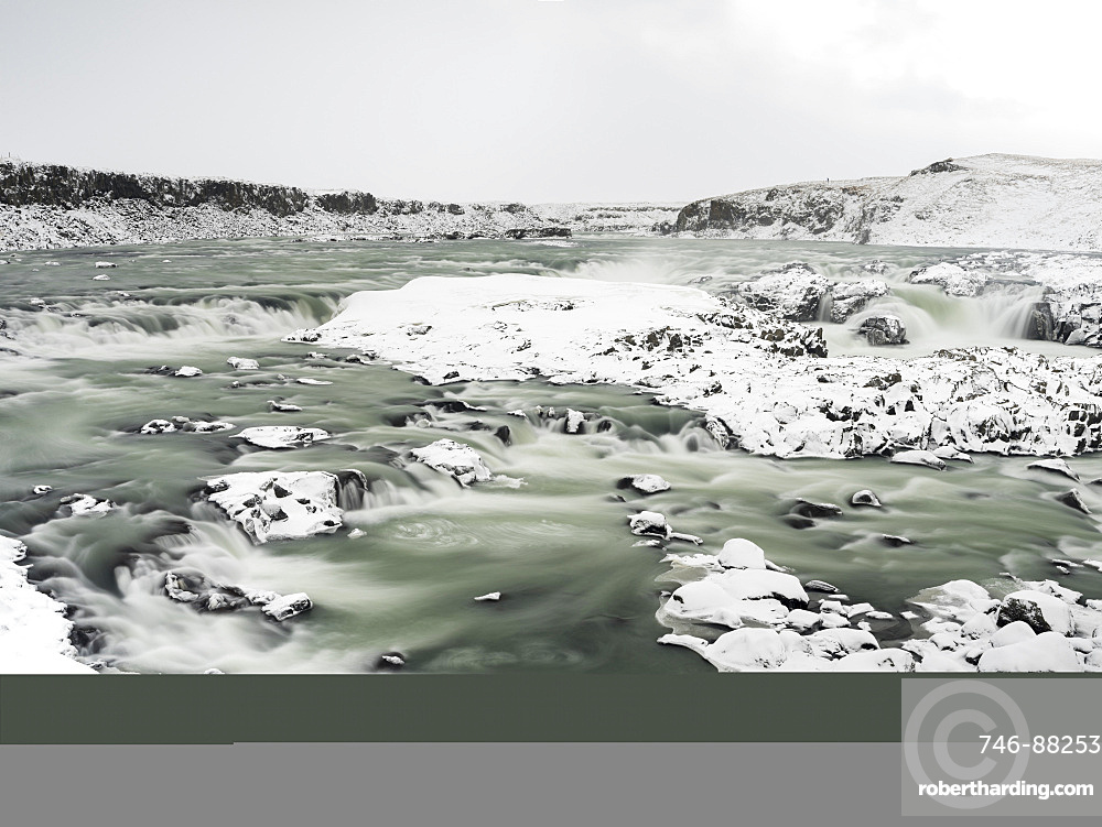 Urridafoss waterfall and river Thorsa during winter, europe, northern europe, iceland,  February