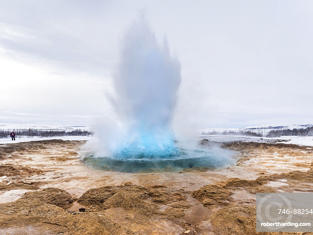 The geothermal area Haukadalur part of the touristic route Golden Circle during winter. Geysir Strokkur.   europe, northern europe, iceland, March