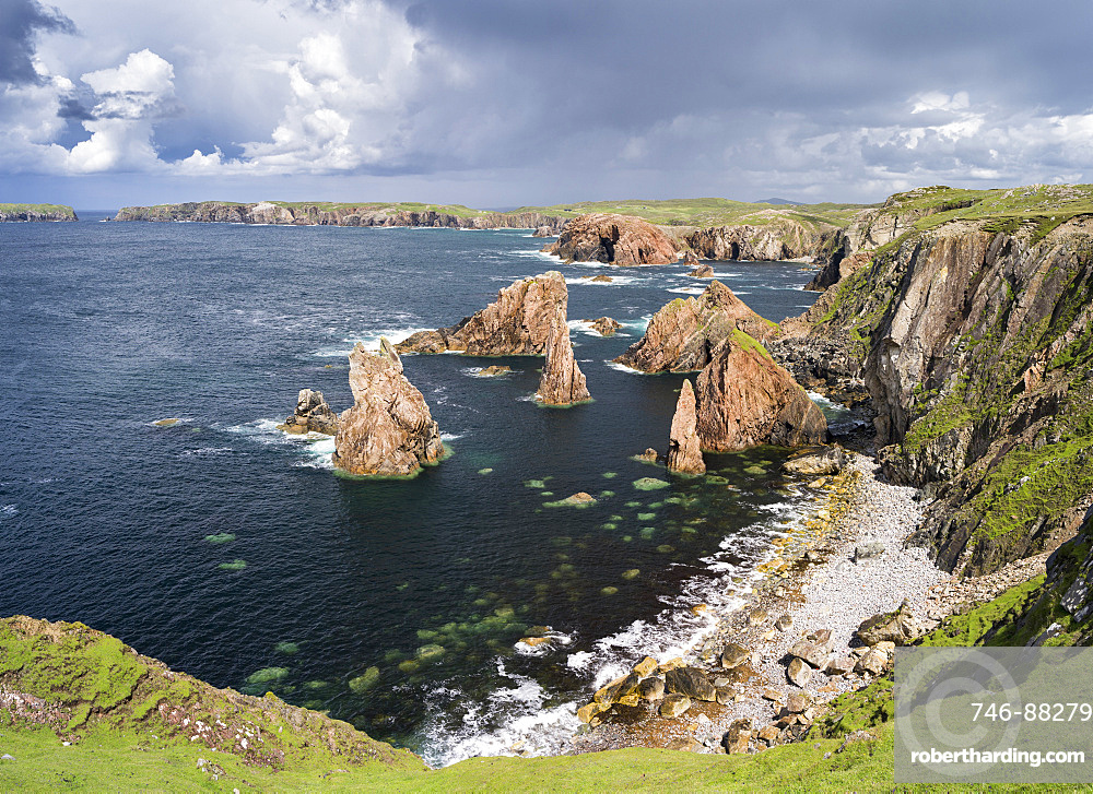 Isle of Lewis, part of the island Lewis and Harris in the Outer Hebrides of Scotland. The cliffs and sea stacks near Mangersta (Mangurstadh) in Uig. Europe, Scotland, July