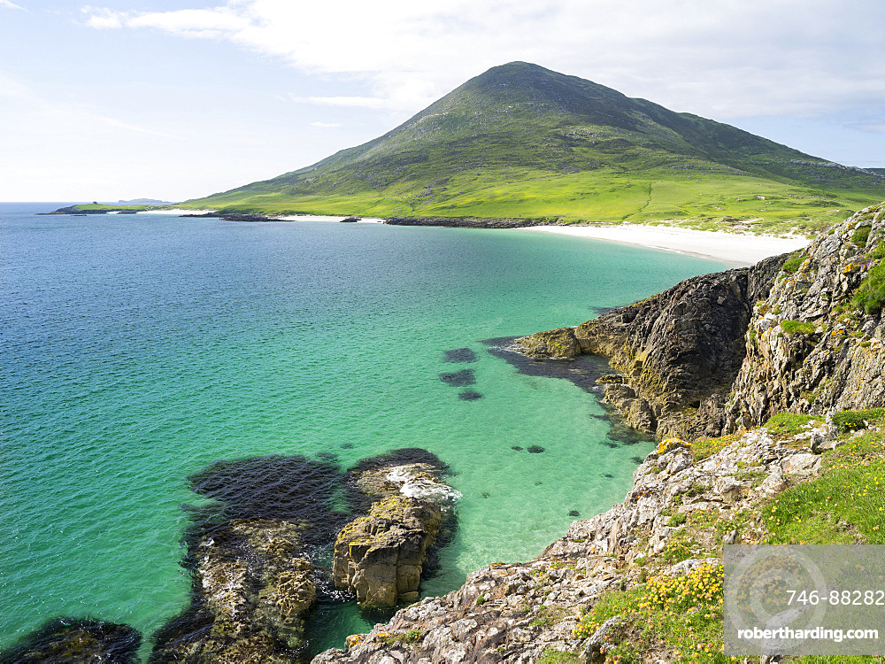 Isle of Harris, part of the island Lewis and Harris in the Outer Hebrides of Scotland. The coast near Northton.  Europe, Scotland, July
