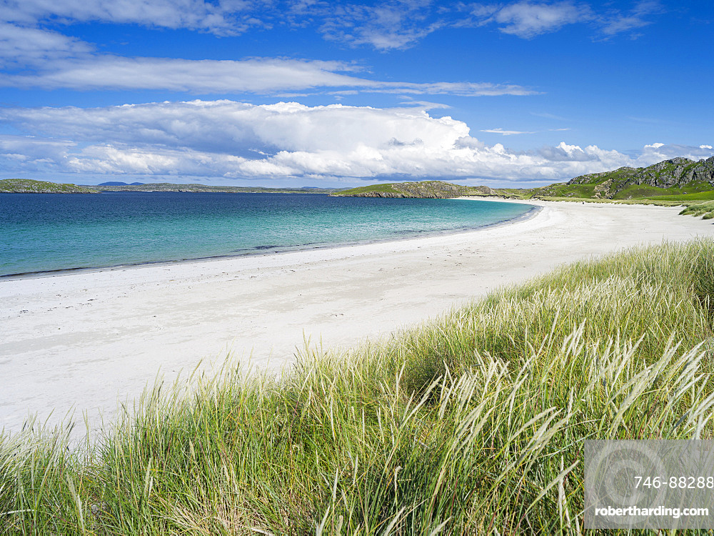 landscape in the northern part of the Isle of Lewis, which ,together with the connected Isle of Harris, make up the largest island in Scotland.Traigh na Berie or Reef Beach, one of the finest beaches in the Hebrides. Europe, Scotland, July