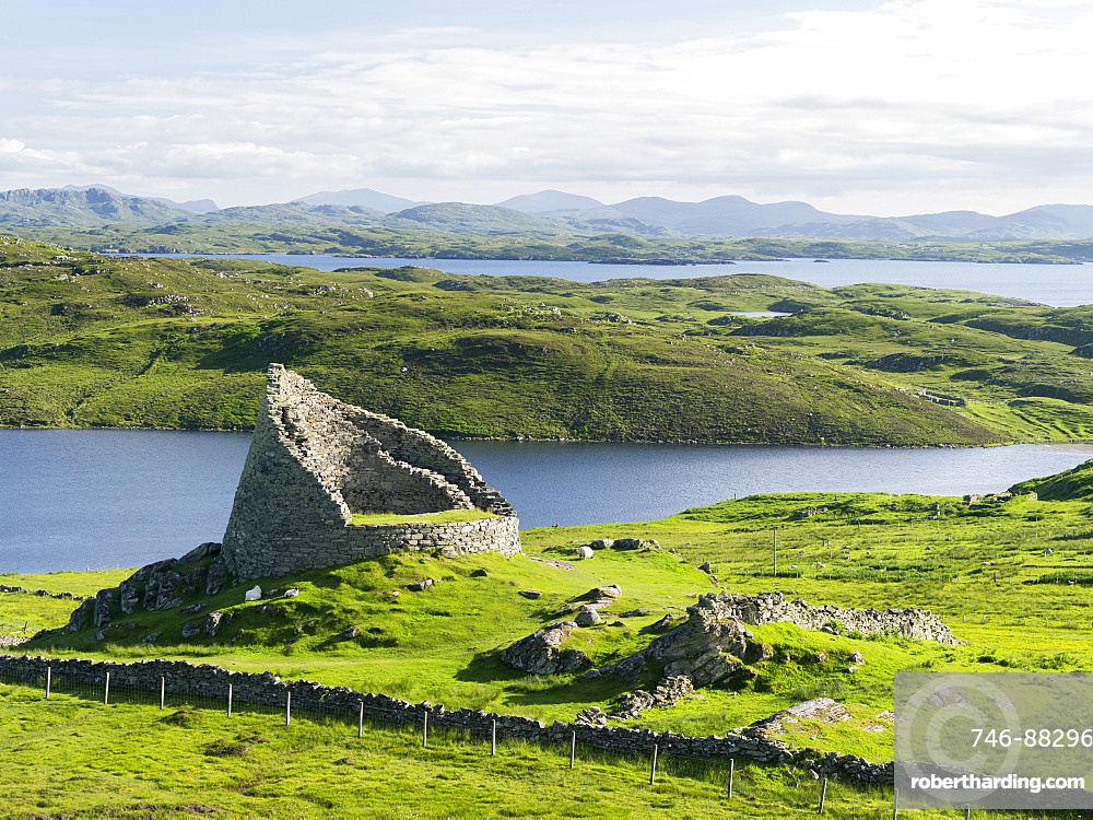 Dun Carloway Broch (Doune Carlabhagh) dating back to the Iron Age, a landmark of the Isle of Lewis.  Europe, Scotland, June