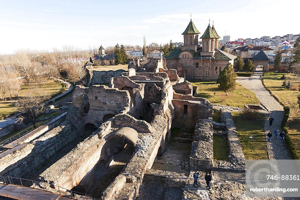 The ruins of the princely court in Targoviste. The princely court (curtea palace) was the first residence of Vlad Tepes aka Dracula. europe, eastern europe, romania, carpathian mountains, january