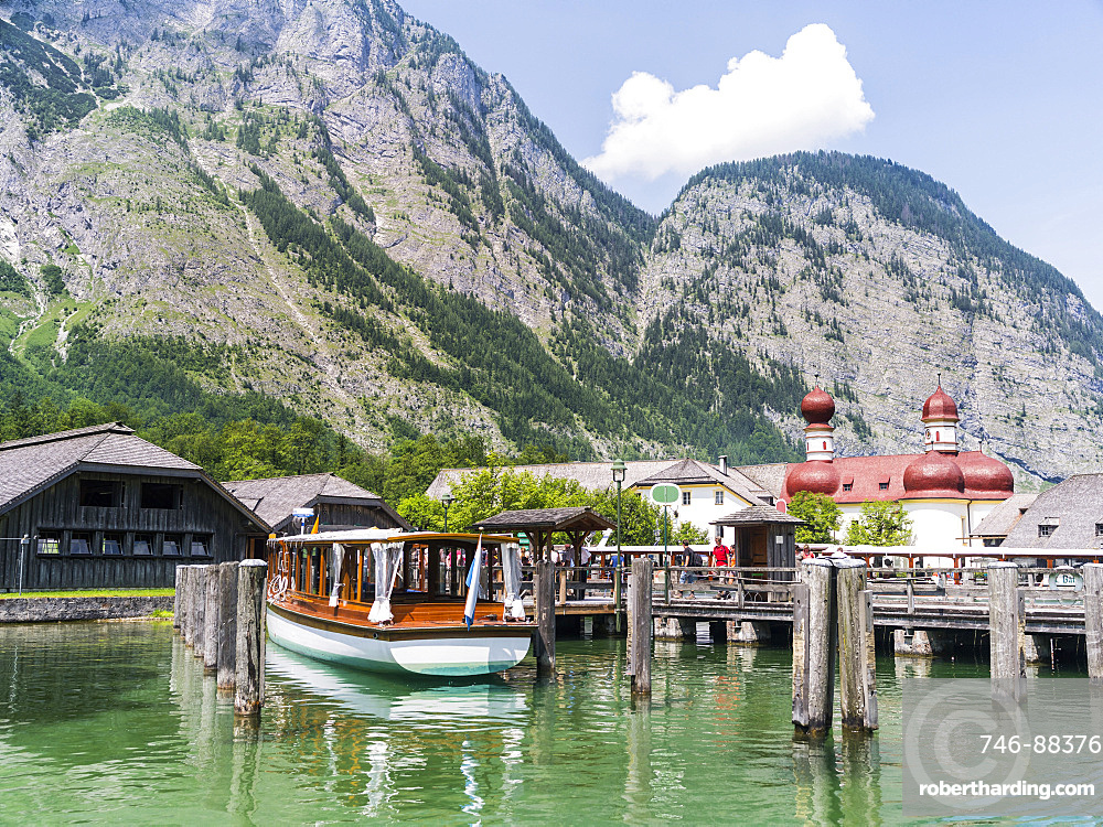 St. Bartholomae chapel at the shore of lake Koenigssee in the NP Berchtesgaden. Europe, Central Europe, Germany, Bavaria, July