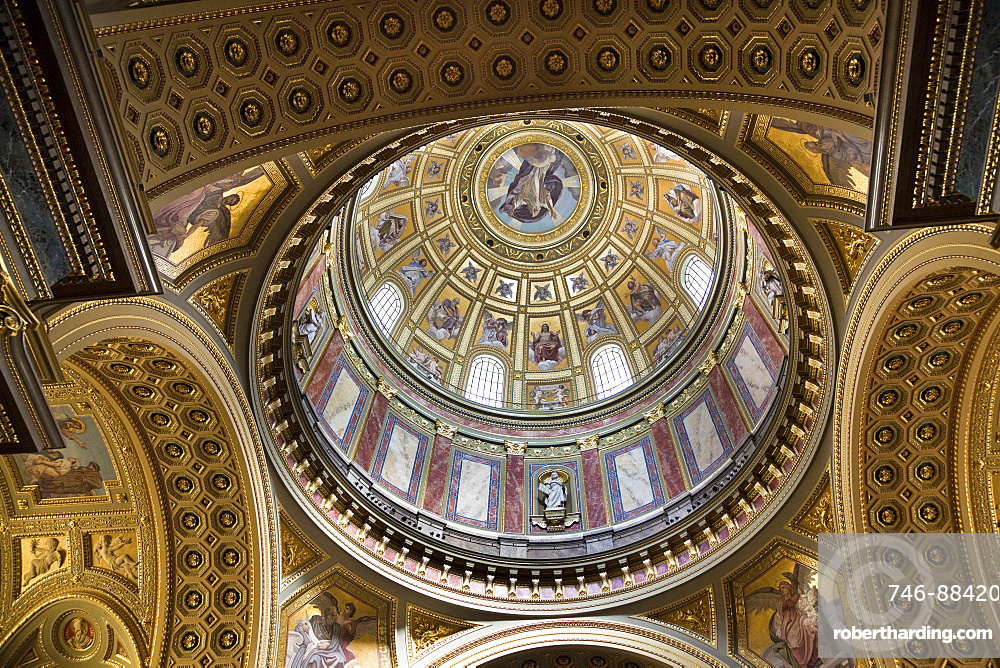 The Saint Stephen Basilica (Szent Istvan Bazilika) in Budapest Hungary at easter, the interior, Europe, Eastern Europe, Hungary, Budapest