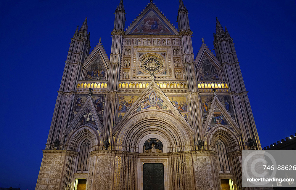 Façade of the Cathedral Basilica of Santa Maria Assunta is the main Catholic place of worship in Orvieto, and a masterpiece of Gothic architecture in Central Italy, Umbria, Italy, Europe