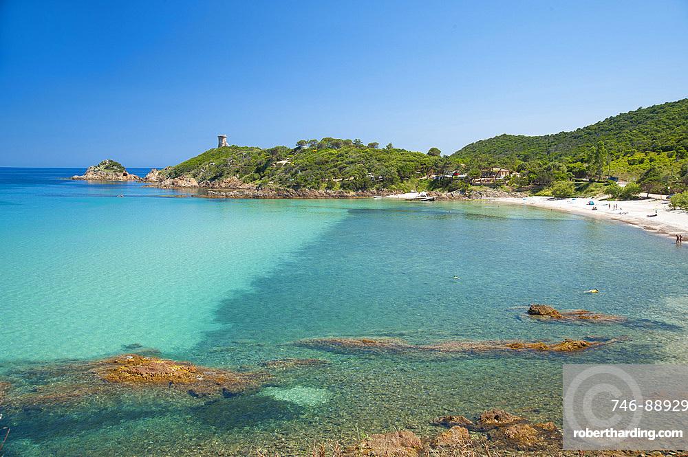 Fautéa beach, Torre Genoese tower, Corsica, France, Europe