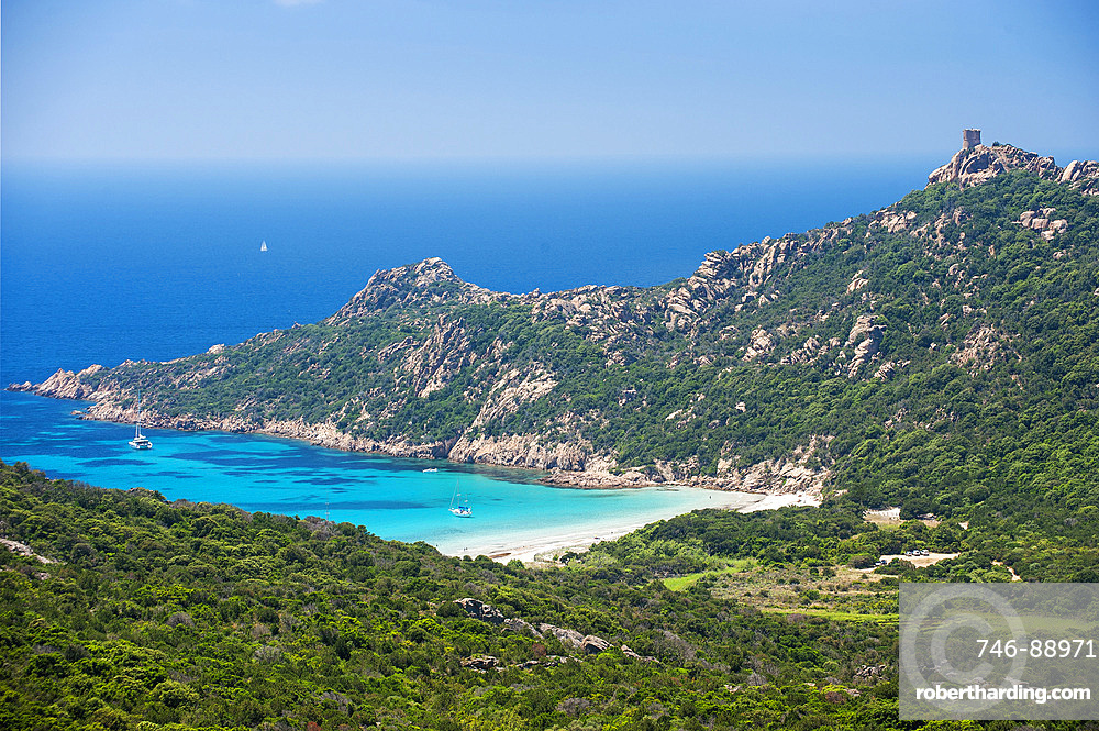 Sandy beach and bay of Roccapina, Corsica, France, Europe
