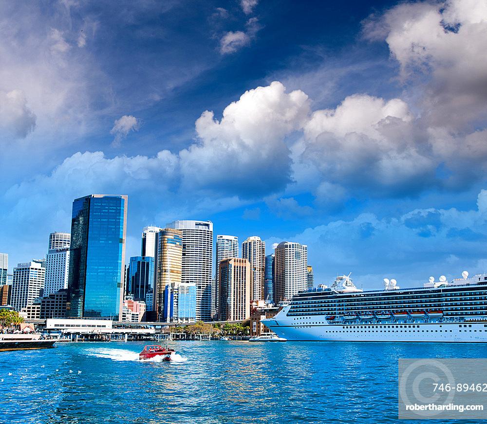 Cruise ship docked in Sydney Harbor, Australia.