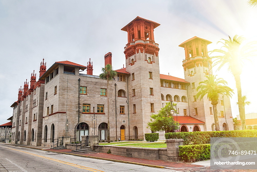 Beautiful view of Flagler College facade at sunset, St Augustine - Florida - USA.