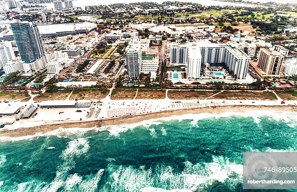 Aerial view of South Beach skyline in Miami, Florida.