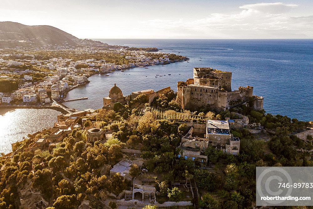 Aerial view, Aragonese Castle, Ischia Porto, Ischia island, Campania, Italy, Europe