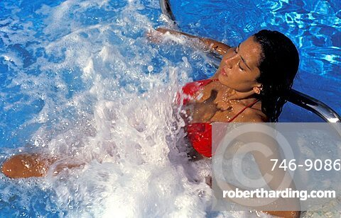 Outdoor thermal pool with hydromassage, Porto Mannu thalassotherapy centre, Palau, Sardegna, Italy