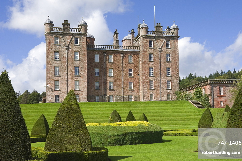The Topiary Garden, overlooking the Nith Valley, at the 17th century Renaissance Palace (The Pink Palace), built by the 1st Duke of Queensberry, Dumfries and Galloway, Scotland, United Kingdom, Europe