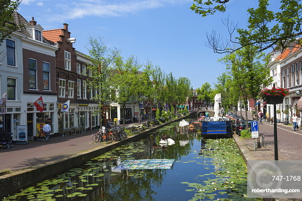 Canal scene in Delft, Holland, Europe