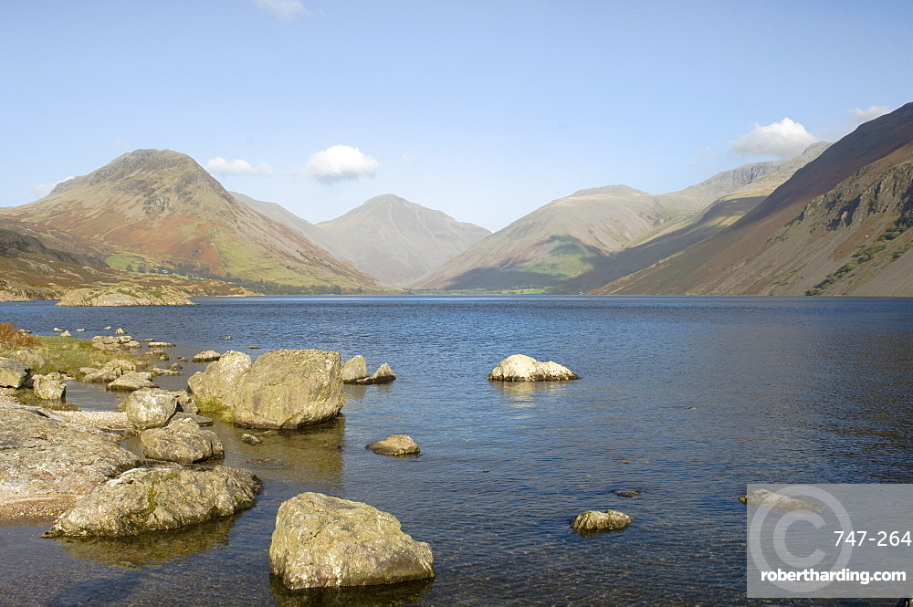 Lake Wastwater with Yewbarrow, Great Gable, Lingmell, Wasdale, Lake District National Park, Cumbria, England, United Kingdom, Europe
