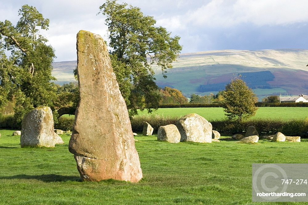 Long Meg, and part of the Druids Circle, Little Salkeld, Eden Valley, Cumbria, England, United Kingdom, Europe