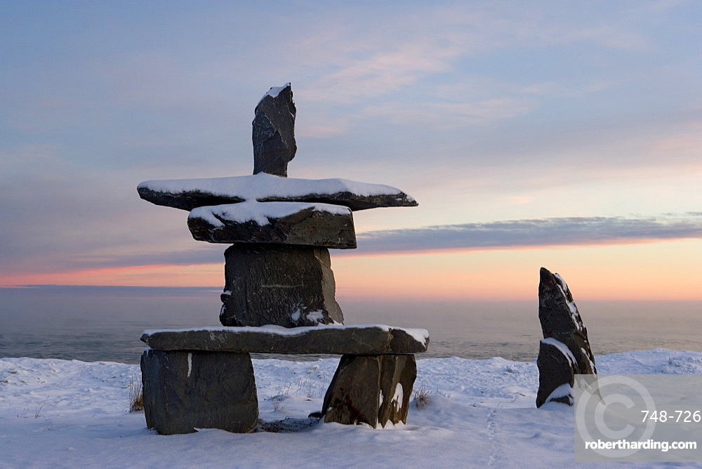 Inukshuk, Inuit stone landmark, Churchill, Hudson Bay, Manitoba, Canada, North America