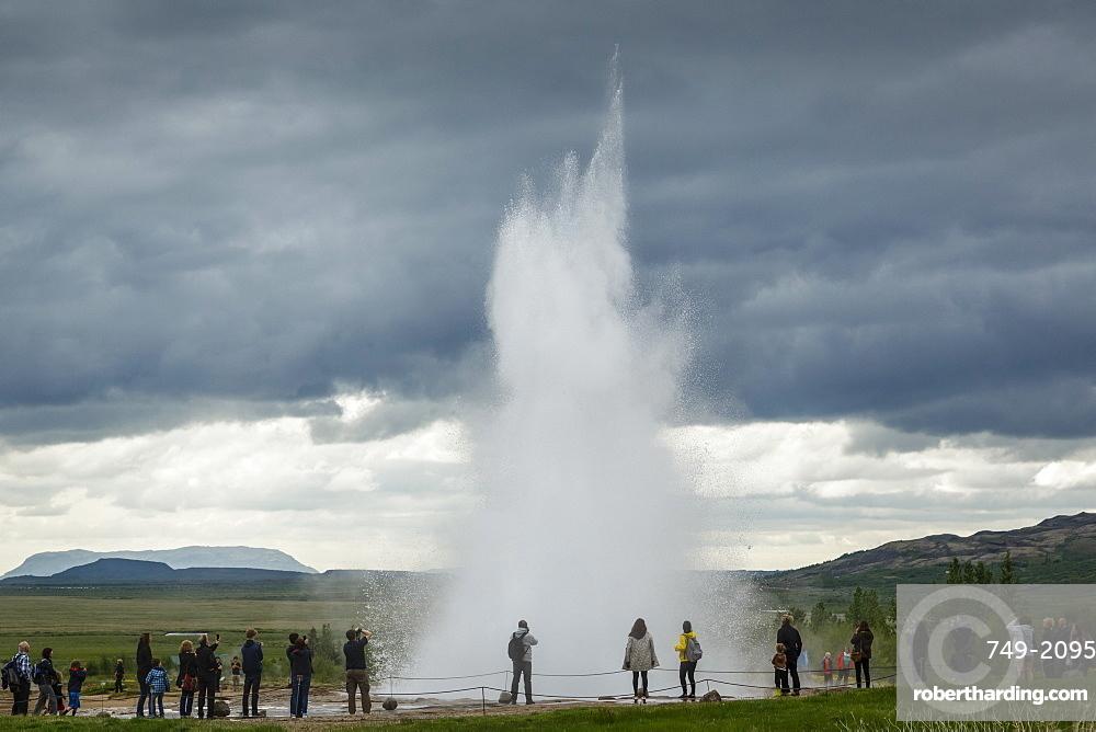 Strokkur geyser, Geysir, Golden Circle, Iceland, Polar Regions