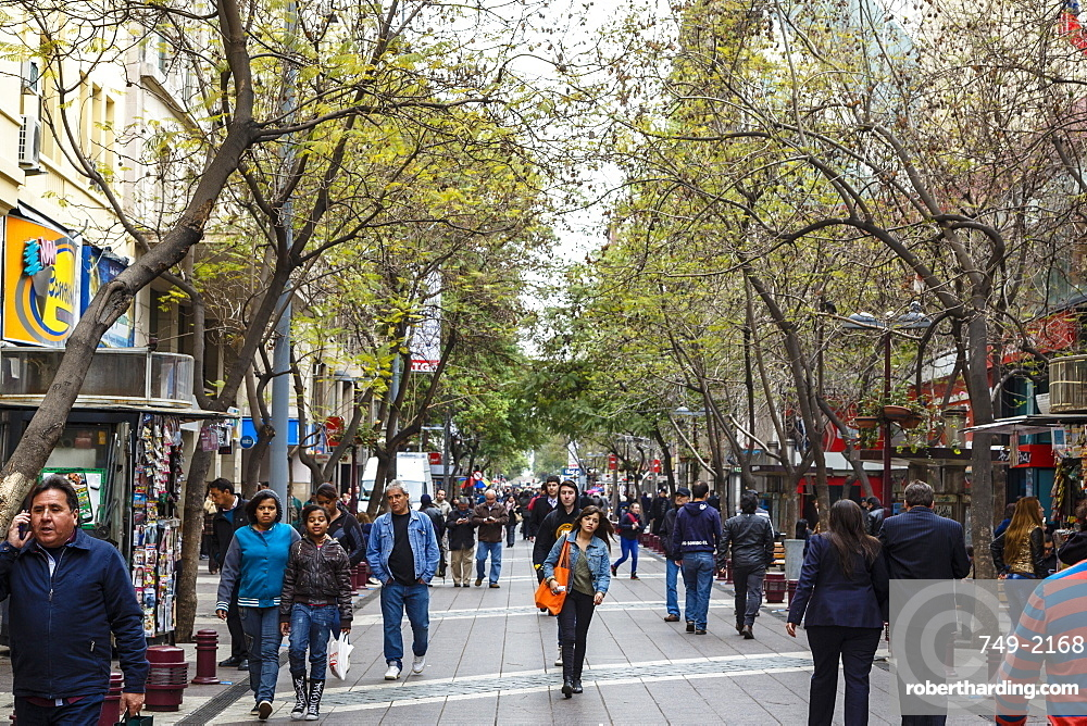 Pedestrian street in the city centre, Santiago, Chile, South America