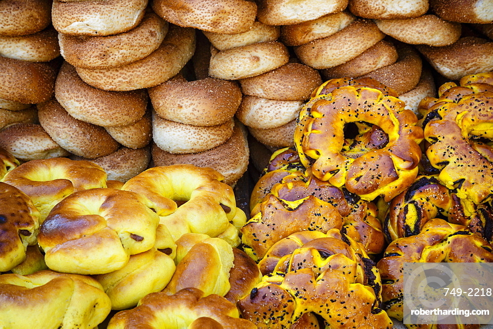 Sesame round bread in the Old City, Jerusalem, Israel, Middle East