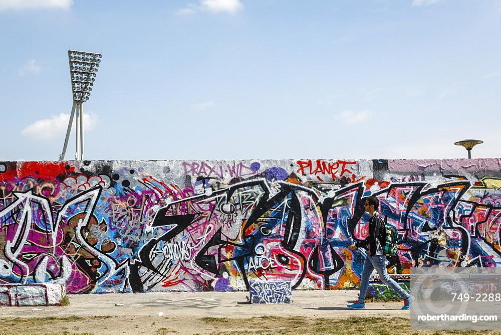 People by the Berlin Wall in Mauerpark, Prenzlauer Berg, Berlin, Germany, Europe