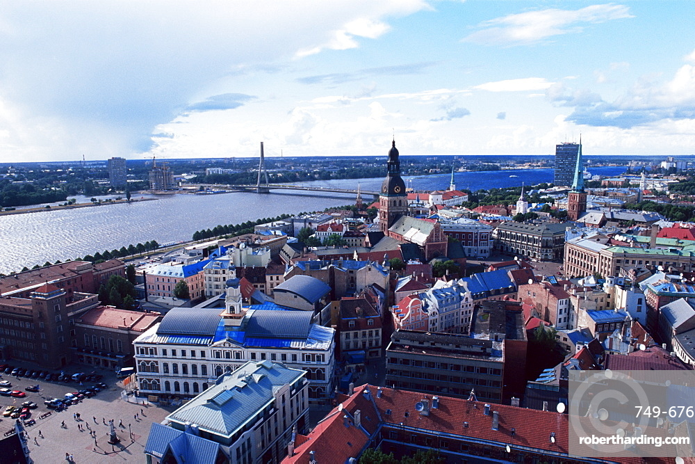 View of the Old Town and the Daugava River, from St. Peter church, Riga, Latvia, Baltic States, Europe