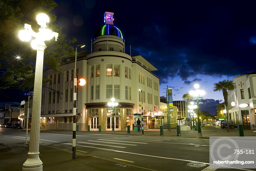 Lampost and Deco clock tower in the Art Deco city of Napier, North Island, New Zealand, Pacific