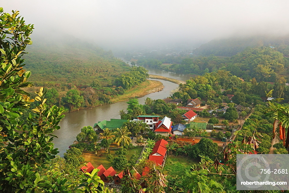 View of Tha Ton and Kok River, Chiang Mai Province, Thailand, Southeast Asia, Asia