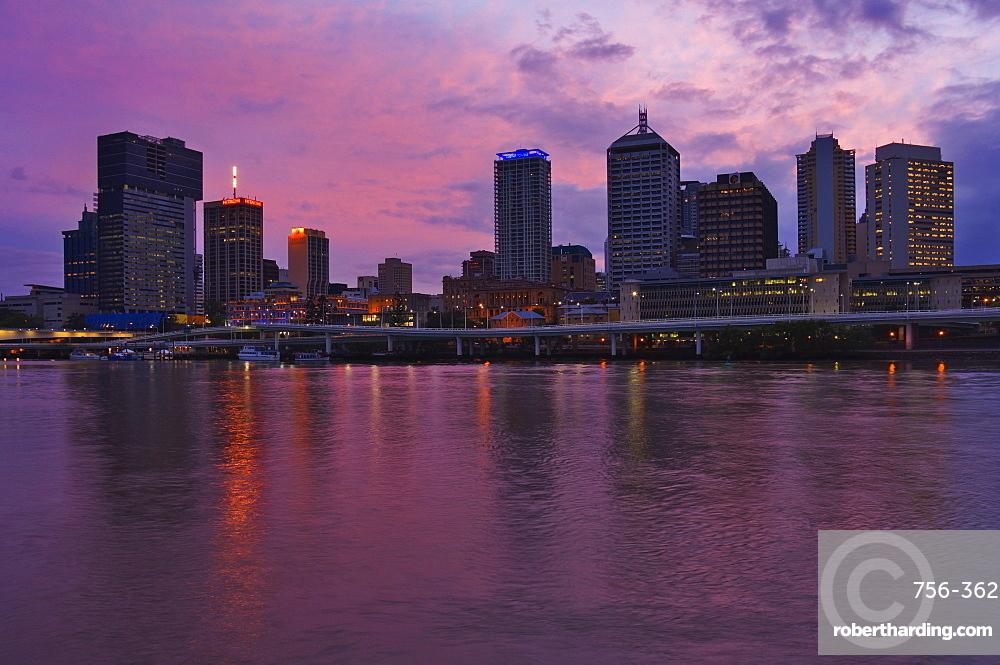 Brisbane skyline and Brisbane River, Queensland, Australia, Pacific