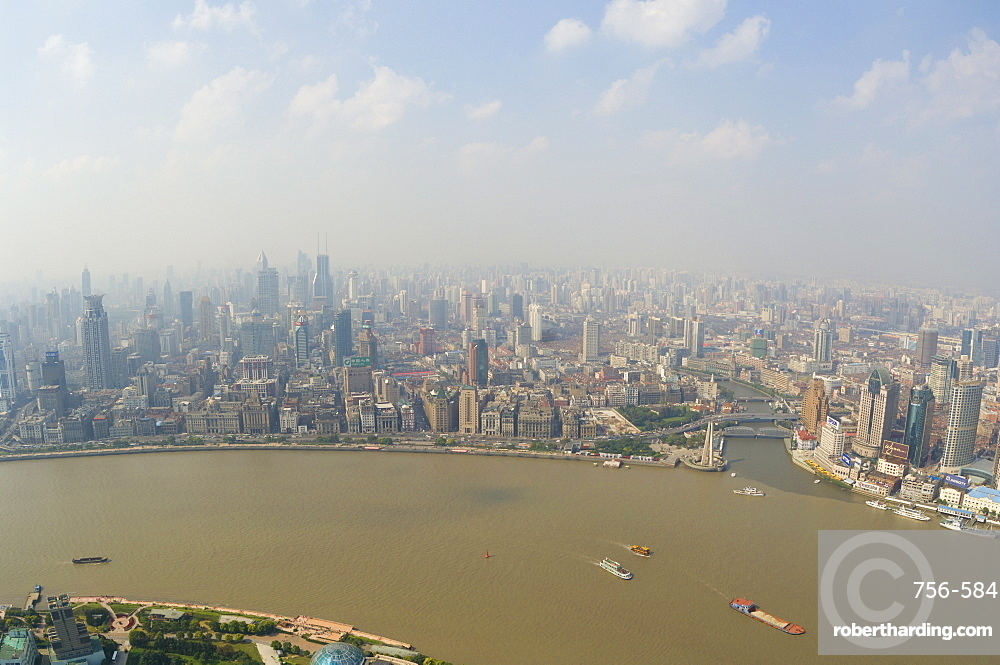 Aerial view from Oriental Pearl Tower of Huangpu District and Huangpu River, Shanghai, China, Asia