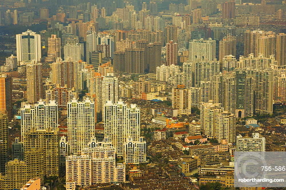 Aerial view from Oriental Pearl Tower of Huangpu District, Shanghai, China, Asia