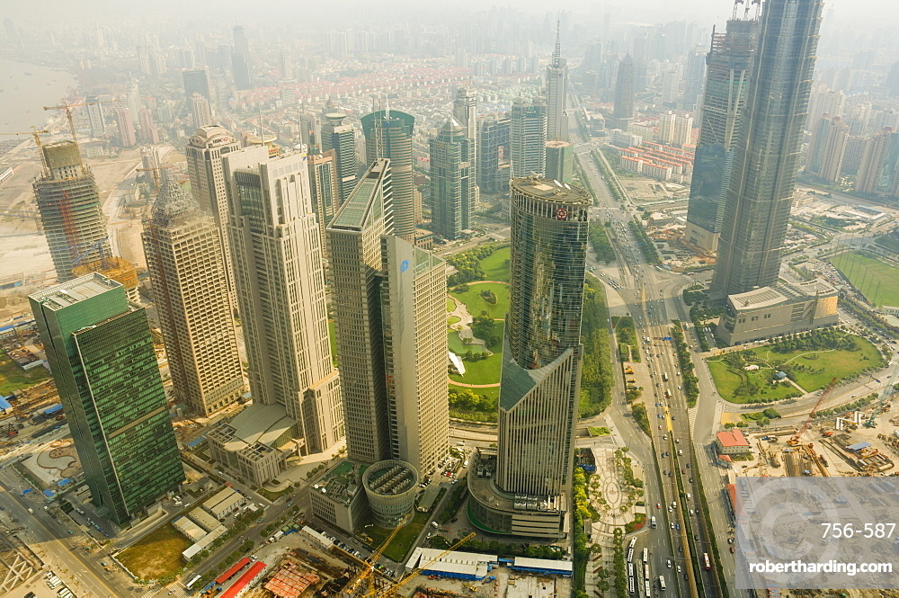 Aerial view from Oriental Pearl Tower of Lujiazui Finance and Trade zone, Shanghai, China, Asia