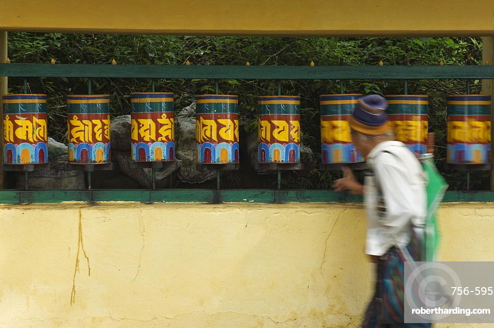 Buddhist turning prayer wheels, McLeod Ganj, Dharamsala, Himachal Pradesh state, India, Asia